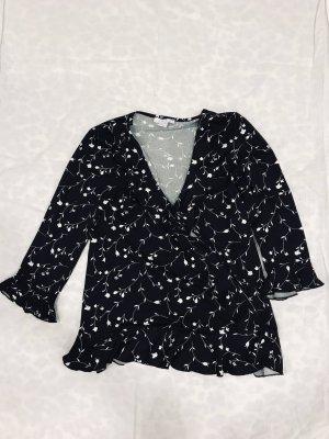 Amisu Wraparound Blouse black-white