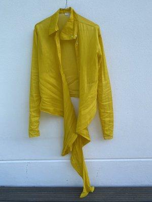 Massimo Dutti Wikkelblouse limoen geel Katoen