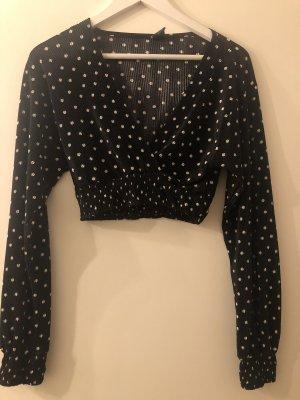 Urban Outfitters Wraparound Blouse black-white