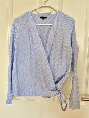 Massimo Dutti Wikkelblouse wit-blauw Katoen