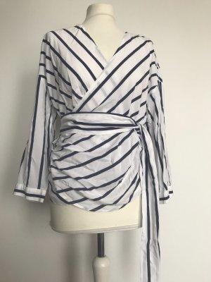 Only Kopertowa bluzka biały-ciemnoniebieski