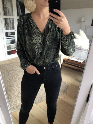H&M Blusa tipo body verde-verde oscuro