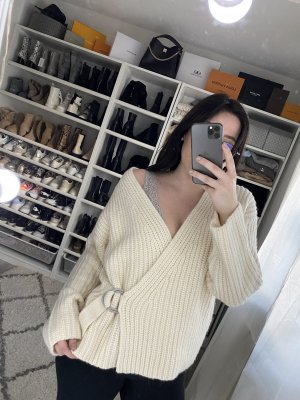 H&M Coarse Knitted Jacket natural white