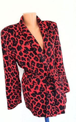 maraislise Veste cache-coeur rouge-noir motif léopard style extravagant