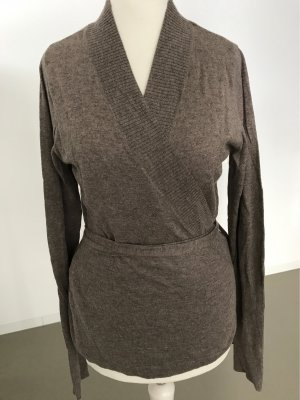 H&M Wraparound Jacket grey brown cashmere