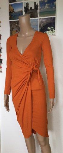 H&M Vestido cruzado naranja oscuro