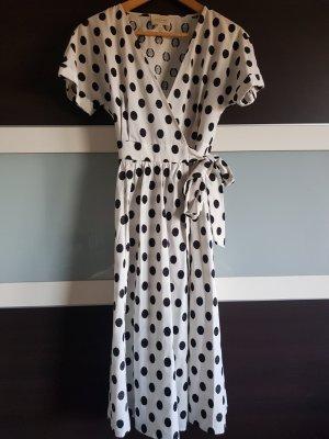 Sezane Vestido cruzado blanco-negro Algodón
