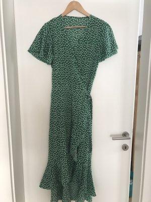 Kopertowa sukienka biały-leśna zieleń