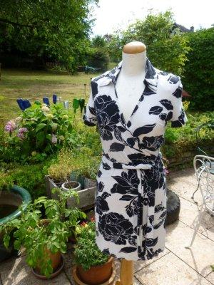 Wickelkleid Kleid Schwarz Weiß Gr. 38
