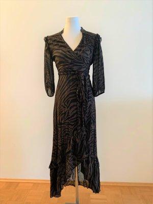 Ba&sh Sukienka midi czarny-brązowy Wiskoza