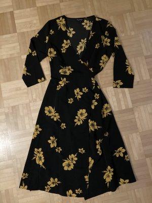 Miss Selfridge Vestido cruzado negro-naranja dorado