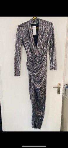Asos Evening Dress silver-colored-black