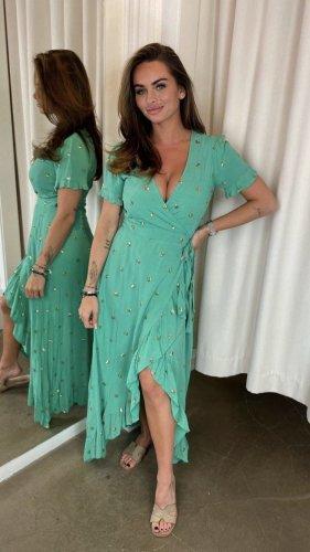 Wickelkleid mit Pailletten gr M Aqua