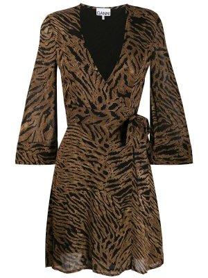 Ganni Robe portefeuille bronze-noir