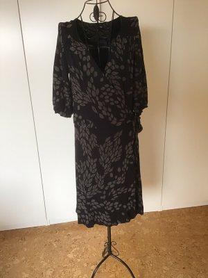 H&M Robe portefeuille noir-gris brun