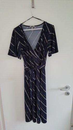 Wickelkleid von H&M, dunkelblau gestreift, wadenlang, Größe: M