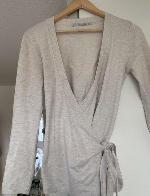 Zara Knit Kopertowa bluzka w kolorze białej wełny-jasnobeżowy
