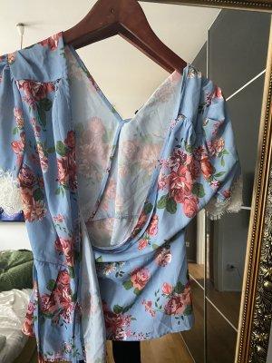 Wickeloberteil M 38 Fashion Union blau rosa Bluse