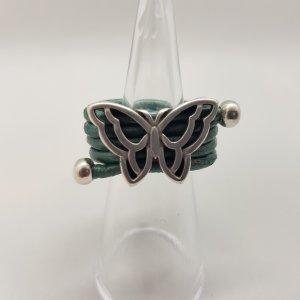 Wickelring Lederring Damenring Zamak Vintage Boho Schmetterling