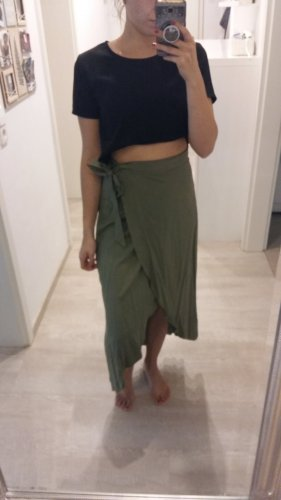 H&M Wraparound Skirt green grey-khaki