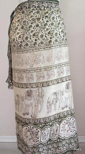 Aus Indien Kopertowa spódnica złoto-w kolorze białej wełny Bawełna