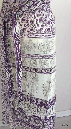 Aus Indien Wraparound Skirt dark violet-white cotton