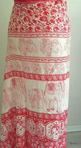 Aus Indien Wraparound Skirt dark red-white cotton