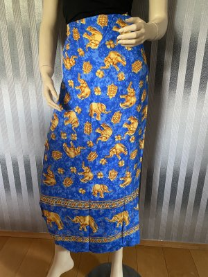 Wraparound Skirt blue-gold orange