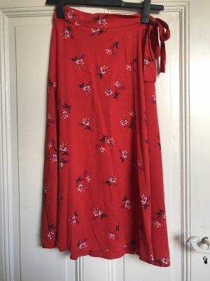 H&M Falda cruzada rojo