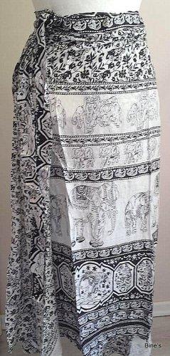 Aus Indien Kopertowa spódnica czarny-biały Bawełna