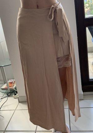Falda cruzada color rosa dorado tejido mezclado