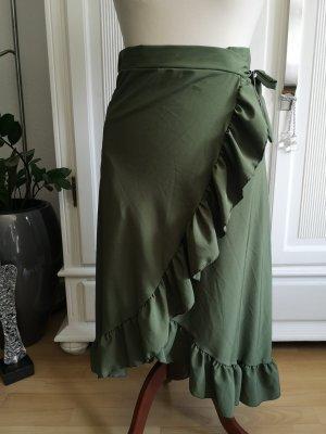 Made in Italy Wraparound Skirt khaki