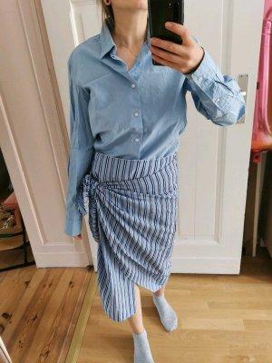 Topshop Wraparound Skirt azure-white cotton