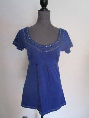 Heine Empire Waist Shirt blue-silver-colored cotton