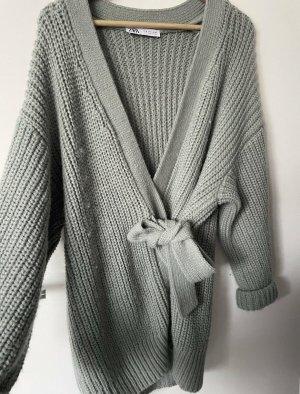 Zara Knitted Wrap Cardigan turquoise