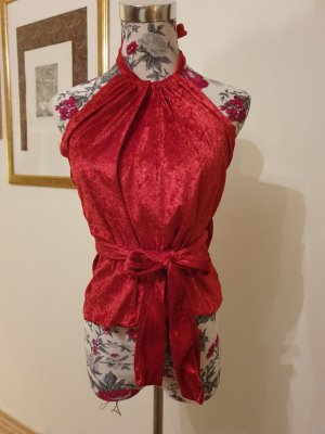 Top estilo halter rojo oscuro-rojo ladrillo