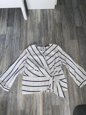 Zara Kopertowa bluzka biały-ciemnoniebieski