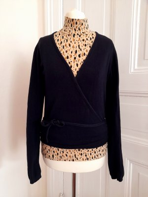 Cache-cœur en tricot bleu foncé coton