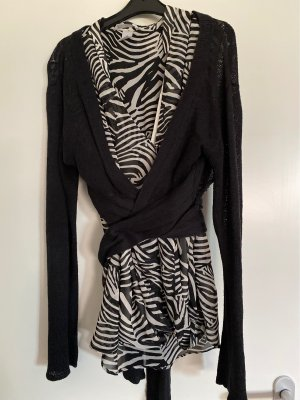 MNG Knitted Wrap Cardigan black