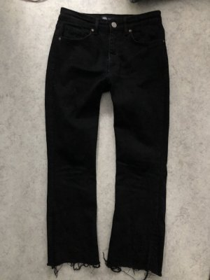 Wide Leg 7/8 Black Jeans cropped
