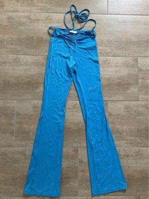 Bershka High Waist Trousers neon blue