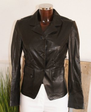 Jil Sander Veste en cuir noir cuir