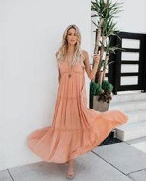 WIE NEU Deserted Lace Maxi Dress - Salmon- Medium