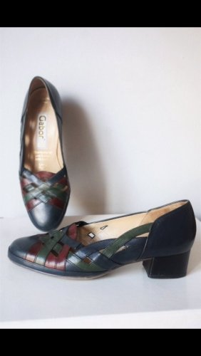 Wie neu: Echtleder Lady Gabor Vintage Schuhe Geflochten kleiner Absatz