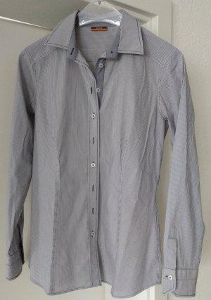 [WIE NEU] ETERNA # Langarm-Bluse # Stretch # Modern Classic # Slim Fit # Größe 38 # dunkelblau-weiß