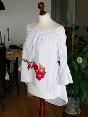 Wie Neu - Off Shoulder Bluse Carmen – weiß mit Stickerei - Gr. M