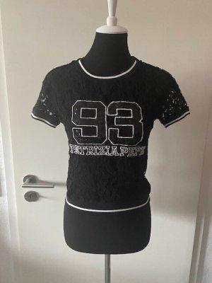 WIE NEU! Patrizia Pepe T-Shirt, Spitze,schwarz,Gr. XS/S, NP:169€