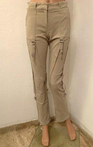 wie Neu Sommer Cargohose Röhren Jeans Hose Beige elastisch stretch Baumwolle XS 34 S Militär