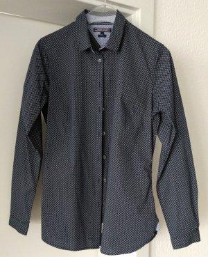 [WIE NEU] TOMMY HILFIGER # Langarm-Bluse # Muster # Stretch # Fitted # Größe 8 (38) # dunkelblau-himmelblau