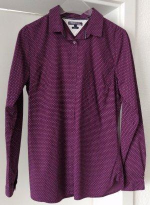 [WIE NEU] TOMMY HILFIGER # Langarm-Bluse # Punkte # Stretch # Fitted # Größe 8 (38) # dunkelviolett-weiß